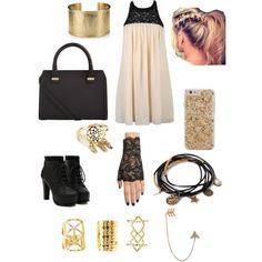 Black and Gold by movelikejade on Polyvore featuring polyvore, fashion, style, Ally Fashion, Victoria Beckham, Blue Nile, Bee Goddess, Forever 21, Charlotte Russe and Case-Mate