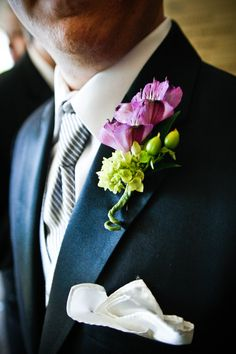 Melissa & Nick - #boutineer - loved the #purple and #green together!  like this, but smaller
