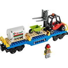 Lego-Train-City-Cargo-Freight-Forklift-Octan-Wagon-Railway-Town-from-60052-NEW