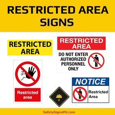 Keep workers and visitors out of specific hazardous and dangerous areas with our custom restricted area signs. Aluminum Sheet Metal, Galvanized Sheet Metal, Evacuation Plan, Mindoro, Leyte, Visayas, Exit Sign, Electrical Safety, Quezon City