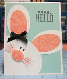 Well hello, sweet bunny! Oval shapes and a soft nose with whiskers helps this bunny pop in for a happy Easter hello on this handmade card!