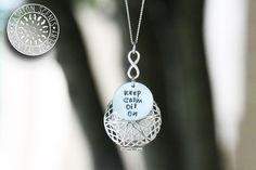 "18"" Silver Stamped 'Keep Calm Oil On' Diffuser Necklace - Stainless Steel Dainty Chain (Pendant Options)"