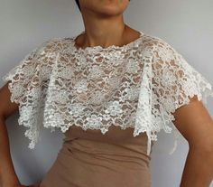 Ivory Lace Bridal Shawl Shoulder Wrap Capelet by MammaMiaBridal, $35.00