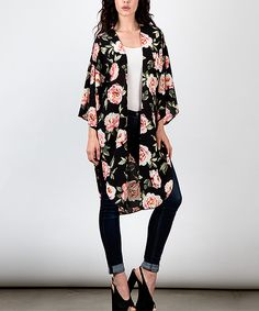 My Beloved Black Floral Kimono by My Beloved #zulily #zulilyfinds