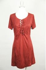 Suede LaceUp Shift Dress w/Exposed Stitching  Thumbnail