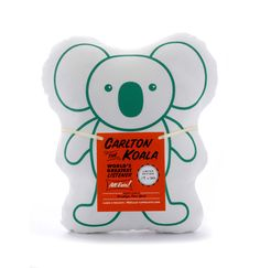 """CARLTON THE KOALA  $45.00  7.5"""" x 9.5"""" x 2.5""""    Limited Edition of 50  Hand printed, stuffed, sewn and numbered in Brooklyn, NY  Made with organic cotton, natural kapok filling, water-based inks"""