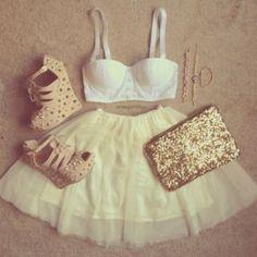 Bracelets, gold purse, studded shoes, tank top