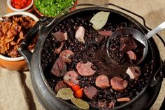 Feijoada has been described as a national dish of Brazil . Brazilian feijoada (feijoada brasileira) is prepared with black beans, . Comida Latina, Feijoada Light, Plats Latinos, Baby Beef, Brazillian Food, Black Bean Stew, Black Beans, Brazil Food, Brazilian Dishes
