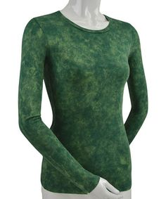 Look what I found on #zulily! Dark Green Mottled Long-Sleeve Crewneck Tee #zulilyfinds