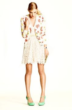 Lace dress, floral cardi, mint shoes - it must be spring!