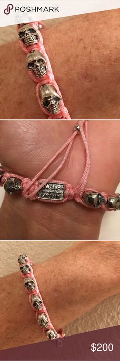 "King Baby Studio Macrame Skull Bracelet Like new! Sparkling clean light pink string with ALLOY skulls. I already have it in black and never wear this one. The maximum diameter is 5"". When closed it's 3"" diameter. TradesPayPal King Baby Studio Jewelry Bracelets"