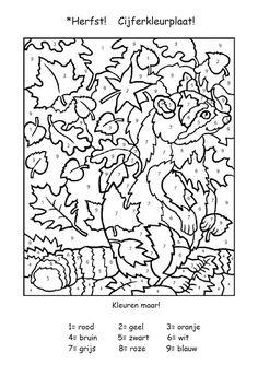 Onderwijs en zo voort ........: 1594. Thema Eekhoorns : Cijferkleurplaat