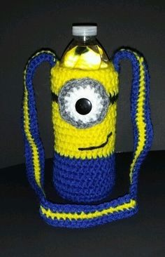 Sarung botol air minion crochet beg botol pinterest crochet new handmade crochet watersoda bottle carrier cozy minion with shoulder strap ccuart Image collections