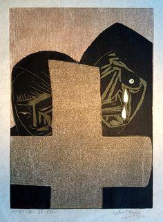 """La Cruz"" Francisco Amighetti, Cromoxilografía, 51 x 34 cm, XV/XXV, 1971."