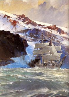 Marin-Marie Old Sailing Ships, Abandoned Ships, Ship Paintings, Nautical Art, Sea Art, Seascape Paintings, Tall Ships, Model Ships, Landscape