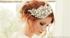 A beautiful pearl and lace hairpiece handmade by Victoria Mary Vintage.