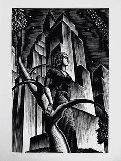 "Lynd Ward - Wood Engraving for Alec Waugh's ""Most Women. Woodcut Art, Linocut Prints, Art Prints, Block Prints, Shetland, Scratchboard Art, Ink Pen Drawings, Encaustic Painting, Wood Engraving"