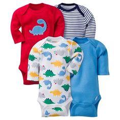 Baby Boys 4 Pack Long Sleeve Dinosaur Onesies Red - Gerber® : Target