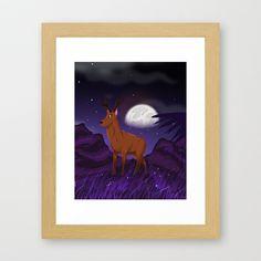 Elk in the moonlight Framed Art Print