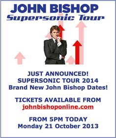 John Bishop Supersonic Tour PRE SALE tickets went on sale at pm today.