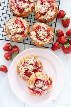 Strawberry Crumble Buns with Lemon Glaze.