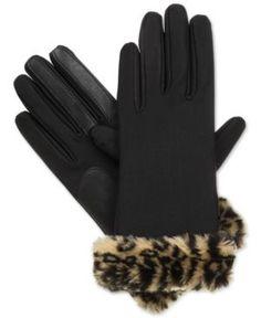 Isotoner Women's SmarTouch Spandex Faux Fur-Cuff Gloves - Leopard