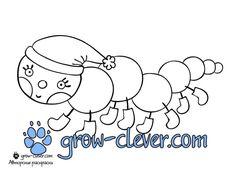 новогодняя раскраска гусеница скачать бесплатно / caterpillar coloring page