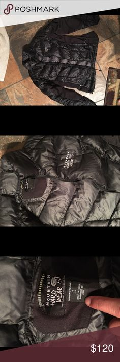 Mountain Hardwear jacket xs Absolutely love black down mountain hardwear jacket size xs. Doesn't make you look like a marshmallow, flattering fit due to the inner sides not being puffed. Excellent condition Mountain Hard Wear Jackets & Coats