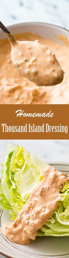 Creamy, sweet and tangy—Thousand Island Dressing is so good made from scratch. Use it on burgers, Reubens, salads, and more. #thousandisland #saladdressing