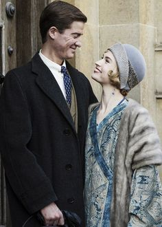 Matt Barber as Atticus Aldridge and Lily James as Lady Rose in the Downton Abbey Christmas Special.