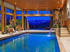 The World's Most Luxurious Indoor Pools - Business Insider FOR SALE: 10 Homes With Ridiculously Cool Indoor Pools. FOR SALE: 10 Homes With Ridiculously Cool Indoor Pools. Use them all year long. Pool Indoor, Indoor Swimming Pools, Outdoor Pool, Indoor Outdoor, Lap Pools, Backyard Pools, Pool Decks, Pool Landscaping, Indoor Tennis