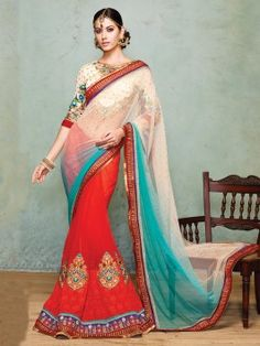 Red And Off White Net Saree With Resham And Zari Embroidery Work www.saree.com