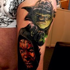 "@nikkohurtado's photo: ""I forgot to post how far I got on the #yoda #starwars tattoo. #darthmaul"""