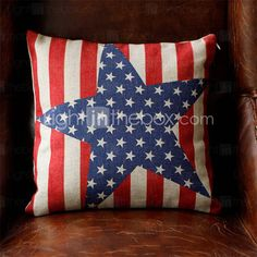 Star-Spangled Banner Patterned Linen Pillow with Filling