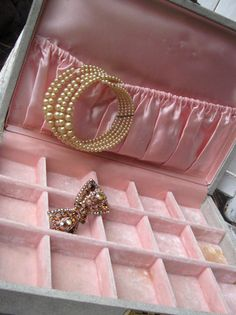 Vintage jewelry box with pink velvet and by LittleBeachDesigns, $24.00