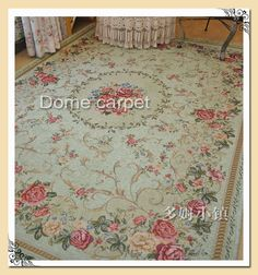 French Country Traditional Classic Chinese Floral Green Floor Mat Rug Carpet T