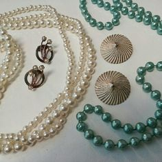 Pearls Aqua & Cream Jewelry Collection Beautiful Vintage jewelry collection features a few pearl necklaces in cream & aqua. And 2 pairs of 1950s earrings. One clip on and one screw backs. Vintage  Jewelry Necklaces