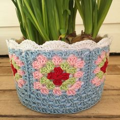 Flower basket with granny squares