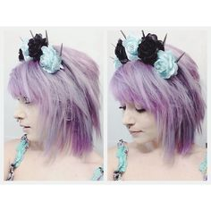 Instagram:   roxyy_holden  Pastel purple hair. I used  Manic Panic, Purple Haze mixed with lots of conditioner to dilute the color <3
