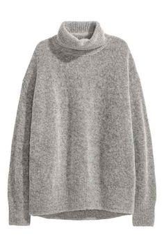 Mohair-blend polo-neck jumper