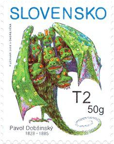 Children's Stamp - Dragon, Pavol Dobšinský, Slovakia