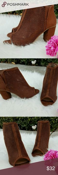 Ankle open toe booties Whiskey color open toe booties Lacer cut design  Square heel  15% off bundles of 2+ Shoes Ankle Boots & Booties