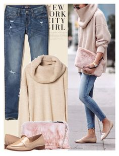 """""""Happy Friday!"""" by arethaman ❤ liked on Polyvore featuring H&M, Hollister Co., Boohoo, Lust For Life, loafers, casualfriday, jeansandsweater and furclutch"""