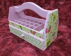 Nail Polish Organizer Wooden Storage Box with por CLVLArtsBrazil