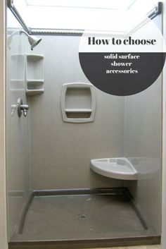 How to choose solid surface shower and base accessories - just like accessories make the dress - shower accessories add style and function as well! Master Shower, Shower Accessories, Shower Kits, Shower Dresses, Bathroom Layout, Solid Surface, Tile Floor, Innovation, Tiles