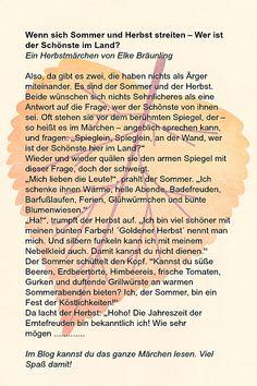 Wenn Sommer und Herbst miteinander streiten ❤︎ Elkes Kindergeschichten