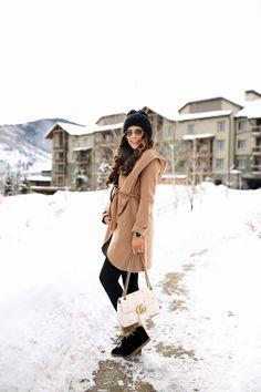 Friday, January 13, 2017 My Go-To Camel Wrap Coat (& it is on SALE!) - JACKET: Soia & Kyo   LEGGINGS: Zella   TEE: BP   BEANIE: BCBG via Nordstrom   WATCH: Nixon   SUNGLASSES: Ray-Ban   BOOTIES: Ceceilia NY   HANDBAG: Gucci