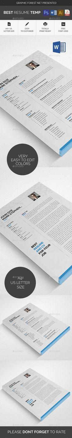 Resume \ Cover Letter Template v4 - Resumes Stationery Download - killer resume template