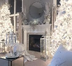 Stunning White Winter Decor Ideas You Must Try: The appearance of the winter solstice has made an emanation of quiet and serenity in our condition. The fruitless trees against the background of the winter sky appear as though they may have been … Noel Christmas, Simple Christmas, Beautiful Christmas, Christmas Lights, White Christmas, Cheap Christmas, Silver Christmas Decorations, Holiday Decor, Elegant Christmas Decor