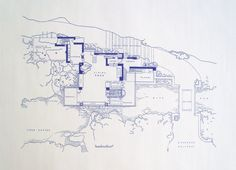 Frank Lloyd Wright Falling Water Site Blueprint on Etsy, $14.99